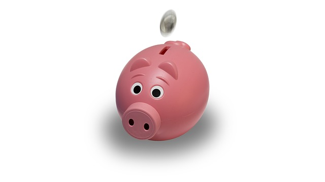 cartoon piggy bank image with coin going in